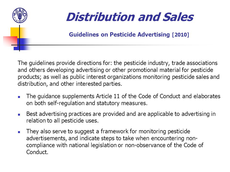 Distribution and Sales Guidelines on Pesticide Advertising [2010]